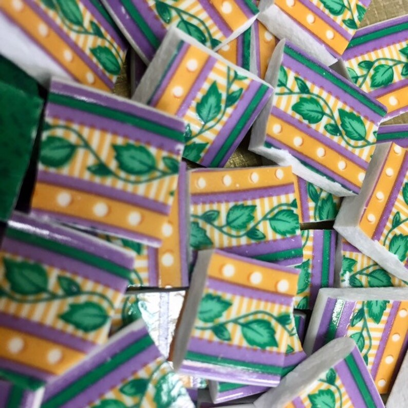 Ivy Pattern Green China Plate Mosaic Tiles 100 Pcs Broken Etsy