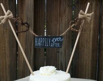 Burlap Wedding Cake Topper