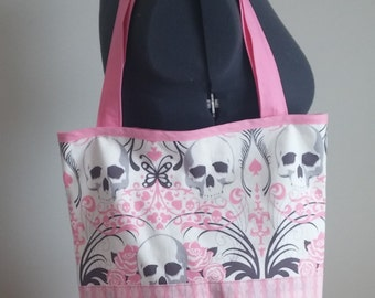 eddc77be4257 Skull Tote Bag    Carry All - Pink   Grey