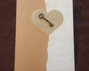 Wedding Card // Key to my Heart with Burlap