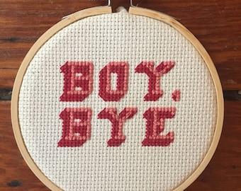 Boy, Bye cross stitch