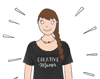 Creative Mama Ladies Loose fit top / Slouchy Tee / Artist top / Slogan Top / Designers T-shirt / Designer mum