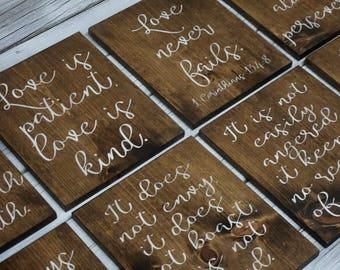 Wedding aisle decor. Love is patient, love is kind sign. Rustic wedding decor. 1 Corinthians 13 wood signs. Aisle markers. Love never fails