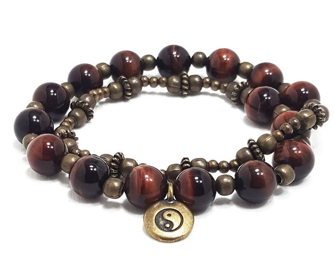 Absolute Protection Double Wrap Bracelet: Red Tiger Eye Gemstones + Yin Yang Charm