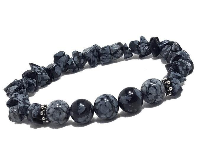 Balance & Healing Bracelet: Snowflake Obsidian Gemstone Beads + 925 Silver Bali Dividers