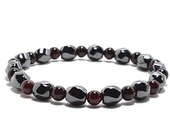 Passion, Inspiration, Balance Bracelet: Garnet Gemstone Beads + Hematine Dividers