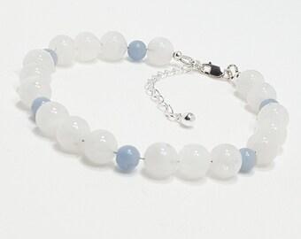 Good Energy Vibes® - Peace + Harmony Bracelet - Blue Lace Agate & Snow Quartz Gemstone Beads, Energy Healing Yoga Meditation Chakra Stones