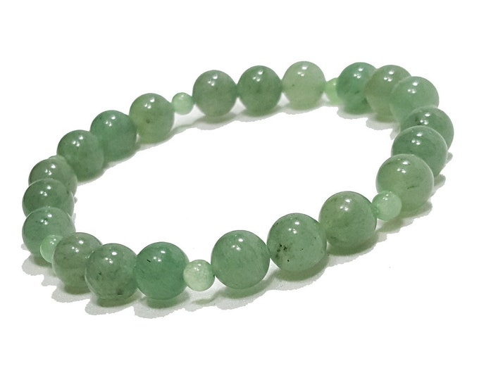 Calming + Well-Being Bracelet: Green Aventurine Natural Gemstone Beads.