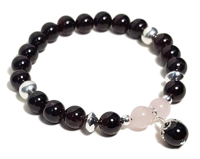 Love + Success Bracelet: Garnet & Rose Quartz Gemstone Beads + 925 Silver Beads