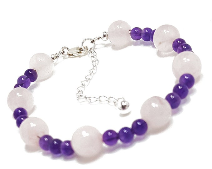 Love + Protection Bracelet: Rose Quartz & Amethyst Gemstone Beads + 925 Silver Chain and Clasp.