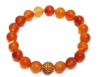 Rebirth + Harmony Bracelet: Carnelian Natural Gemstones + Swarovski Crystal Bead.