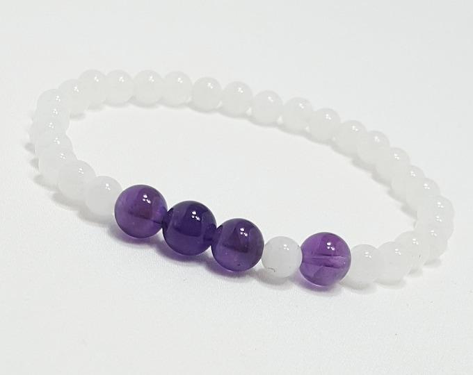 Love + Balance Bracelet: Amethyst & Snow Quartz Gemstone Beads