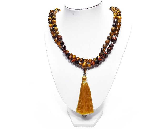 108 Mala Bead Necklace: Natural Tiger Eye & Red Tiger Eye Gemstones + 925 Silver Beads