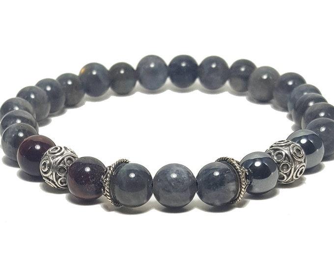 Balance + Transformation Bracelet: Labradorite, Red Tiger Eye & Hematite Gemstone Beads + 925 Silver Bali Beads