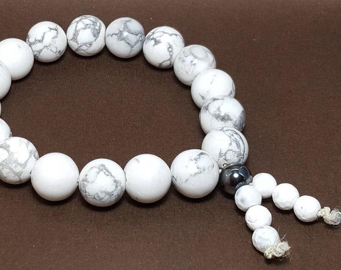 Balance + Calming Bracelet: Howlite & Hematite Gemstone Beads