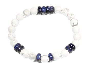 Balance + Strength Bracelet: Howlite & Sodalite Gemstone Beads