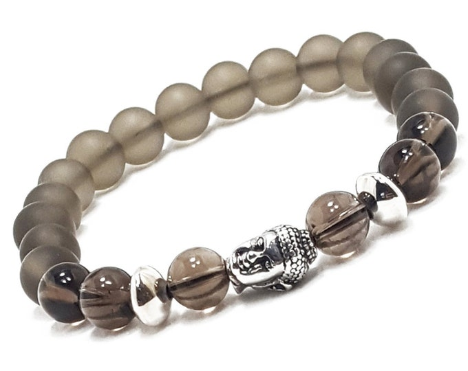 Positivity + Grounding Bracelet: Smokey Quartz Gemstones + Buddha Head Charm