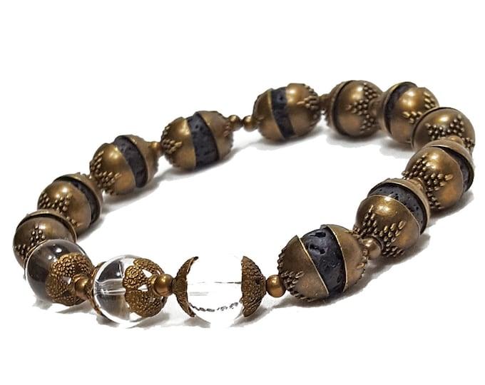 Harmony + Healing Bracelet: Clear Quartz Gemstones & Lava Stone Beads + Antique Brass Caps
