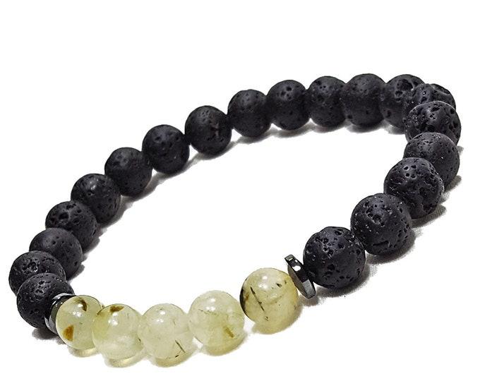Love + Harmony Bracelet: Prehnite Natural Gemstone Beads & Lava Stones + Hematine Dividers.