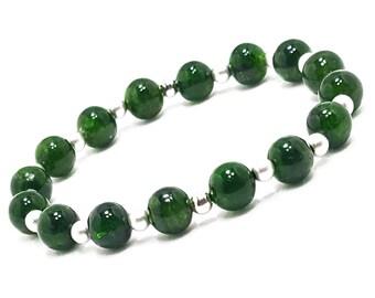 Balance Love Awareness Bracelet. Diopside Gemstones + 925 Silver Beads