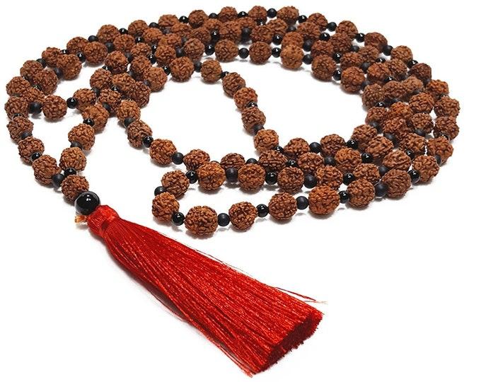 108 Rudraksha Mala Beaded Necklace + Black Onyx Gemstones, Tibetan Buddhist Prayer Meditation Beads
