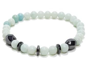 Balance, Healing, Clarity Bracelet: Amazonite Gemstone Beads + Hematine Dividers.