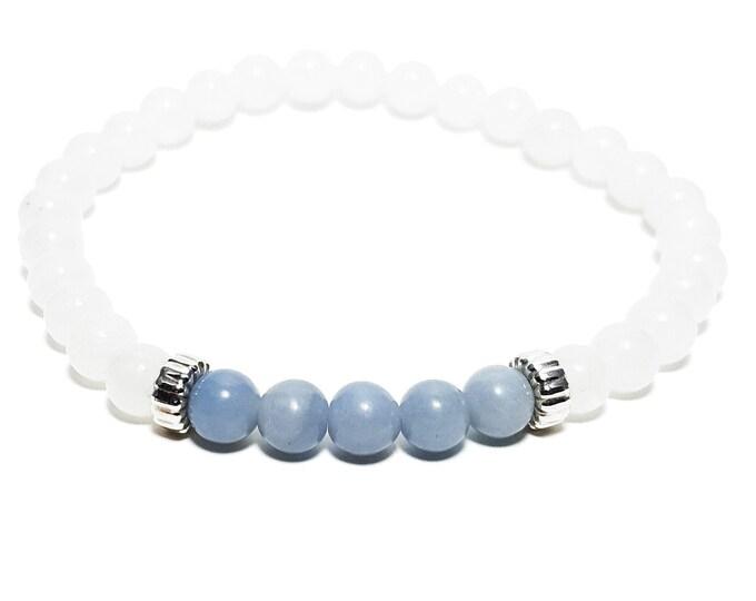 Harmony + Awareness Bracelet: Snow Quartz & Angelite Gemstones + 925 Silver Rondelle Beads.