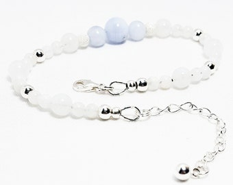 Peace + Harmony Bracelet: Snow Quartz & Blue Lace Agate Gemstone Beads + 925 Sterling Silver Beads, Chain, and Clasp.