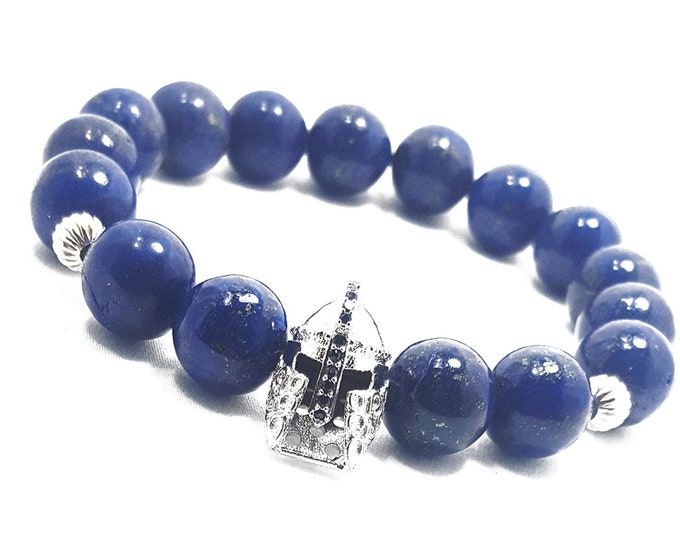 Truth + Awareness Bracelet: Lapis Lazuli Gemstones + Warrior Head Charm & 925 Sterling Silver Accent Beads.
