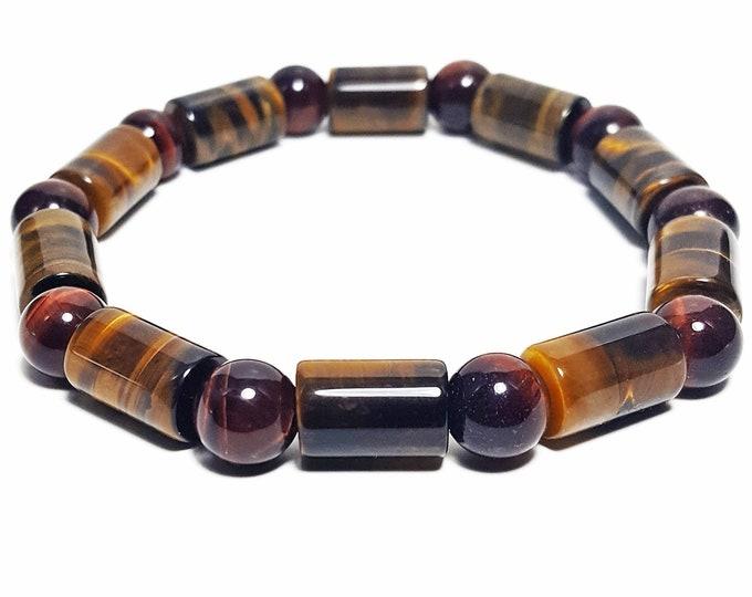 Protection + Grounding Bracelet: Tiger Eye & Red Tiger Eye Natural Gemstones.