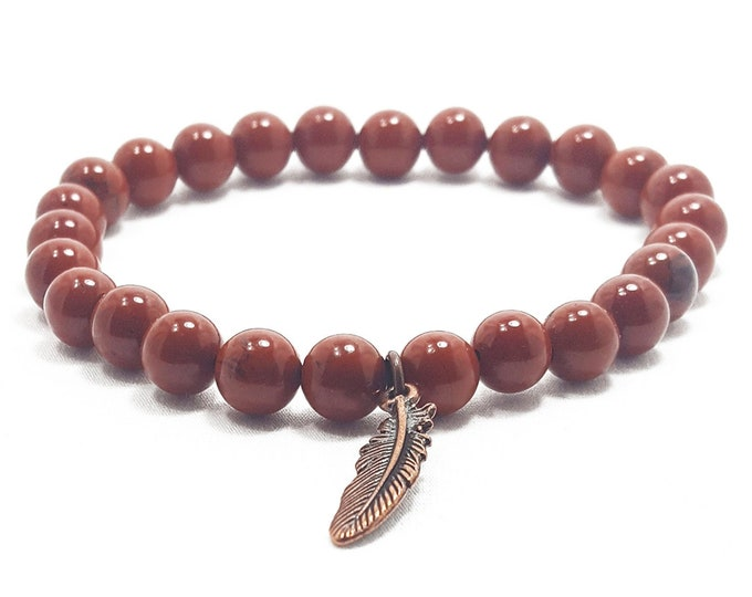 Nurturing + Grounding Bracelet: Red Jasper Gemstone Beads + Antique Feather Charm