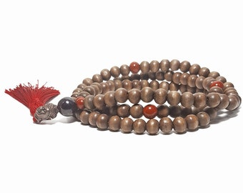 108 Mala Prayer Bead Necklace: Wood Beads + Red Jasper & Garnet Gemstones + Buddha Head Charm.
