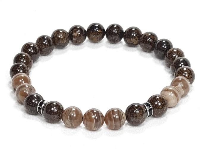 Protection + Healing Bracelet: Rhodochrosite & Bronzite Gemstone Beads + Black Swarovski Crystals