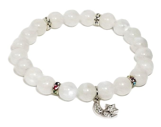 Rainbow Moonstone Gemstone Beads + Swarovski Dividers & Moon/ Star Charm