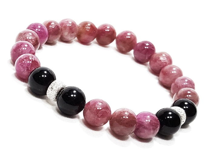 Healing + Balance Bracelet: Pink & Black Tourmaline Gemstones + 925 Silver Stardust Rondelle Beads.