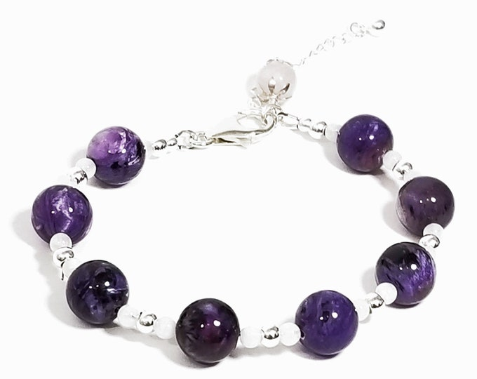Peace & Harmony Bracelet: Amethyst, Snow Quartz, Rose Quartz Gemstones + 925 Silver Beads.