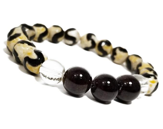 Strength Harmony Balance Bracelet: TIbetan Agate, Quartz, and Garnet Gemstone Beads