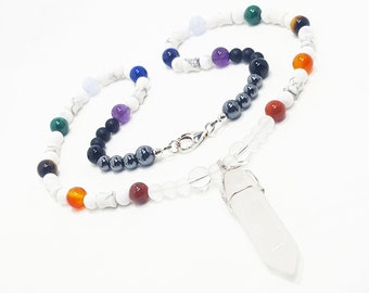 7 Chakra Gemstone Necklace with Quartz Crystal Pendant - Chakra Balancing Jewelry