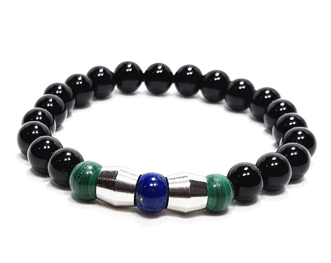 Power + Balance Bracelet: Lapis Lazuli, Malachite, Black Onyx Gemstone Beads & Dividers