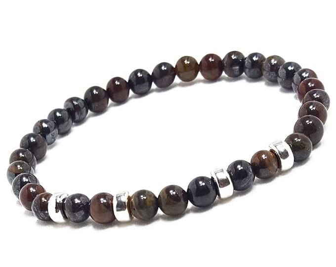 Strength + Vitality Bracelet: Tiger Iron Gemstones + Silver Rondelle Beads