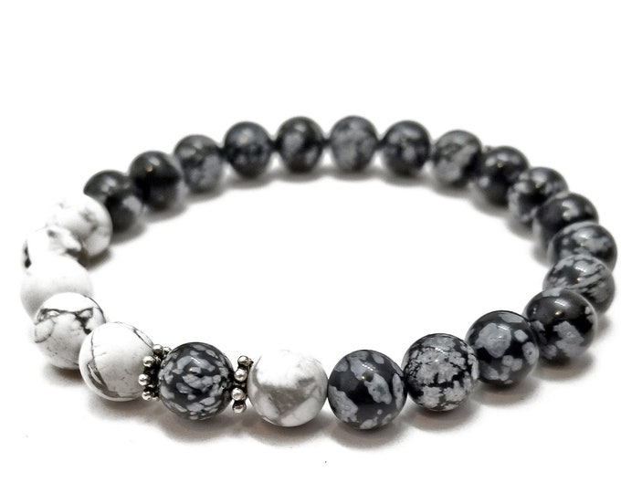 Grounding Protection Bracelet: Snowflake Obsidian & Howlite Gemstone Beads + 925 Silver Bali Accents.