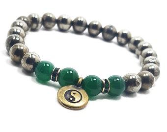 Wisdom + Protection Bracelet: Pyrite & Green Onyx Gemstones + Swarovski Crystal Accent Pieces w/ Brass Yin Yang Charm.