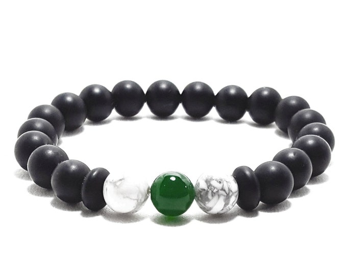 Peace + Strength Bracelet: Green Onyx, Black Onyx, and Howlite Gemstone Beads