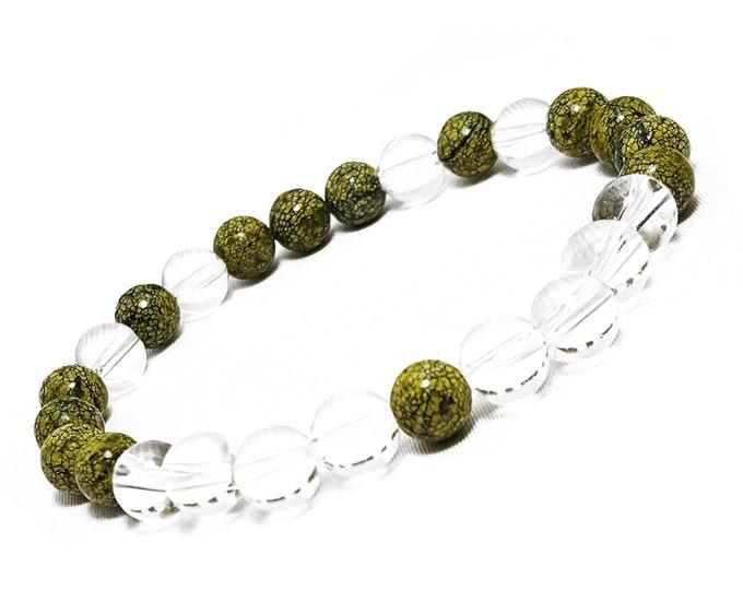 Balance + Harmony Bracelet: Russian Serpentine & Clear Quartz Gemstone Beads.