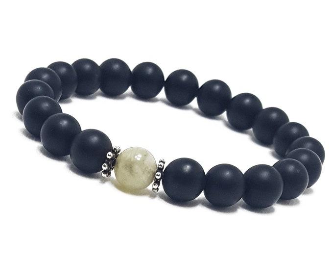 Focus + Strength Bracelet: Aquamarine & Black Onyx Gemstone Beads + Bali Dividers