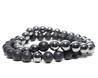 Balance Focus Strength Stacking Bracelet Set: Hematite & Black Onyx Gemstones.