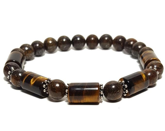 Clarity + Power Bracelet: Bronzite & Tiger Eye Gemstone Beads + 925 Silver Bali Dividers