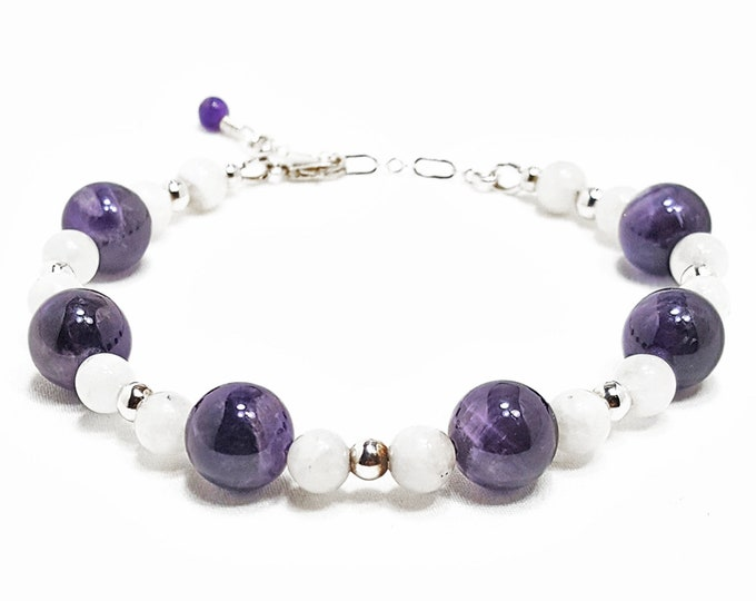 Balance + Harmony Bracelet: Amethyst & Snow Quartz Gemstones + 925 Sterling Silver Beads plus Clasp