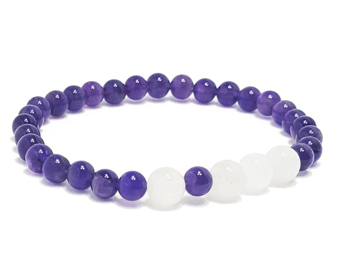 Peace, Healing, and Balance Bracelet: Amethyst & Snow Quartz Gemstone Beads.