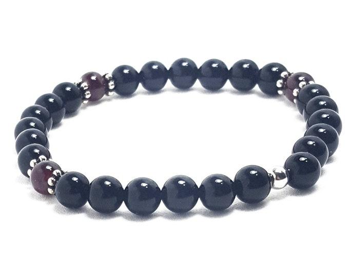 Good Energy Vibes: Revitalize + Strength Bracelet - Garnet & Onyx Gemstone Beads + Silver Bali Dividers; Healing Yoga Meditation Chakra
